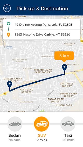 taxi customer app